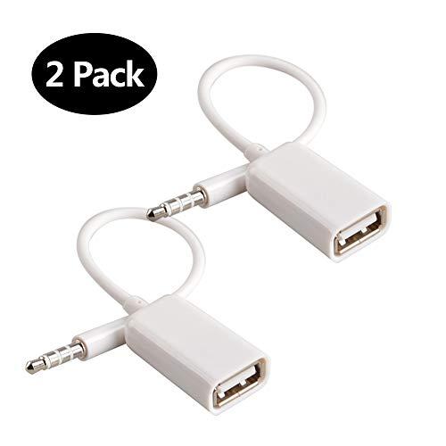 Adaptateur AUX vers USB 3.5mm Prise mâle audio Auxiliaire vers USB 2.0 Femelle Convertisseur Câble Cordon Convertisseur pour Voiture Blanc 2 PACK par Oxsubor (VOITURE FONCTION DECODE BESOIN)
