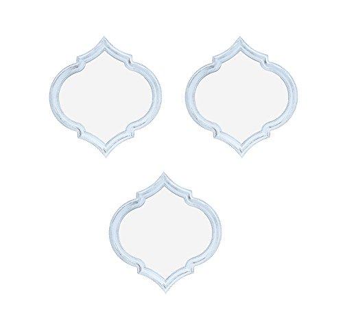 Charming House set di 3bianco shabby chic specchi di forma quadrata, montaggio a parete Maroccan design bianco