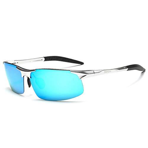 Sonnenbrille,Männer Lässig Retro Fahren Coole Sonnenbrille Männer Hälfte Frame Outdoor Reiten Sport Hochwertige Sonnenbrille Blau