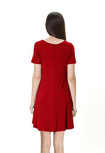 Mini kleid Kurze Rundhals Ärmel Stretch Casual Kleider Rot