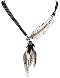Tinksky Cable de múltiples capas árbol hoja pluma borla collar de cuero, regalo para mujer (azul + negro)
