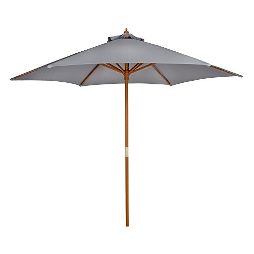 Aktive Garden Parasol Hexagonal con mástil de Madera de 38 mm, Gris, Diámetro 270 cm
