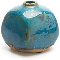 Black Velvet Studio - Jarrón Atenas, cerámica, Color Azul, Turquesa, florero10X10X10 cm
