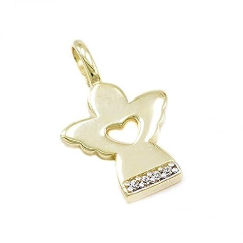 ASS 333 Gold Anhänger Engel Schutzengel 20mm mit Zirkonia Kommunion