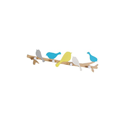 WINOMO Wandgarderobe mit Haken aus Holz Vögel Dekoration Wandbehang (bunt)