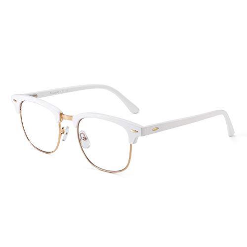 GLINDAR Blaues Licht Blockieren Computer Brillen Retro Semi-Randlos Stil Reduzieren Auge Belastung Video Spiel Gläser Damen Herren Weiß