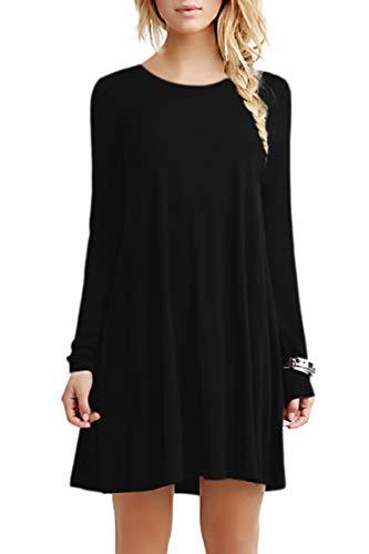 YMING Damen Mini T-Shirt Kleid Langarm Tunic Casual Looses Kleid,Schwarz,XL - Damen Langarm Kleid Shirt