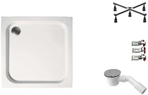 Mebasa DWSET211PF Duschwannen Set 90x90x6,5 cm inkl. Acryl Duschwanne, Duschwannenfuß, Ablaufgarnitur und Wannenanker