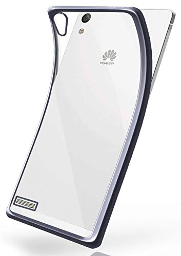 moex Huawei P6 | Hülle Silikon Transparent Anthrazit Chrom Back-Cover Silikonhülle Dünn Schutzhülle Handyhülle für Huawei Ascend P6 Case Ultra-Slim Tasche TPU