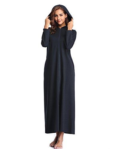 Lusofie women zipped dressing gown accappatoio lungo con cappuccio vestibilità manica lunga(marina militare, s)