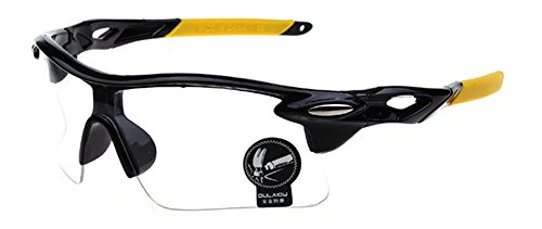 Kostüm Bein Mann Lampe Ein (Blendend /Sports/Reflektierenden Sonnenbrille / Männer und Frauen Sonnenbrille Radfahren im Freien /Explosion - Beweis Sonnenbrillen Brillen- Schwarz Rahmen Gelb Bein & Transparant)