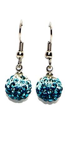 Bijoux Fashion en acier chirurgical Boule de cristal Boucles d'oreilles pendantes aqua