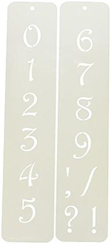 Designer Schablonen C1405,7cm Zeitgenössische Zahlen Kuchen Schablonen, beige/halbtransparent