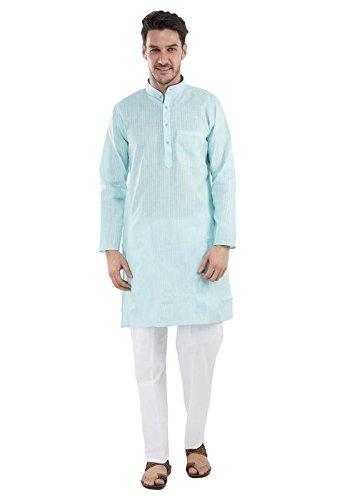 Sea Blue Men's Ethnic traditional cotton self kurta pyjama sizes, L