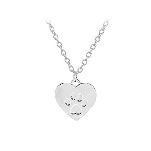 OULII Colgante Collar de Huella de Perro Corazón Joyería para Mujeres Regalo (Plata)