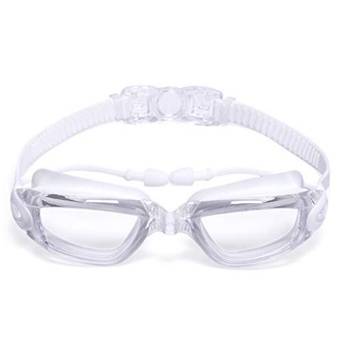 LULUDAMAI Schwimmbrillen Erwachsene Ohrstöpsel Wasserdicht Professionelle Augenschutz Nicht Beschlagen Anti Uv Langlebige Praktische Rezept Männer Arena Wasser Silikonanzug Weiß