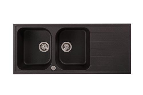 """Rieber Fancy 200 graphit Riegranit 1160x500 mm Küchenspüle MADE IN GERMANY 2 Becken mit Abtropffläche 3,5"""" Körbchendrehexzenter schlag- und kratzfest langlebig Spülbecken"""