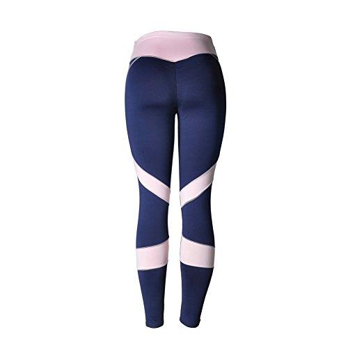 Femme Physique Leggings collant de Sport Pantalons Capri Jogging Yoga Fonctionnement Des Pantalons De Sportif Bleu