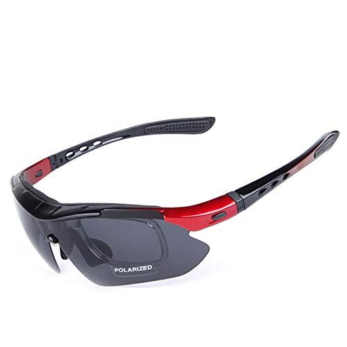 Fahrradbrille Klar Reiten Polarisierte Sonnenbrillen Mountainbike Winddicht Brille Multi Piece Reitbrille Set Black Red Damen Herren
