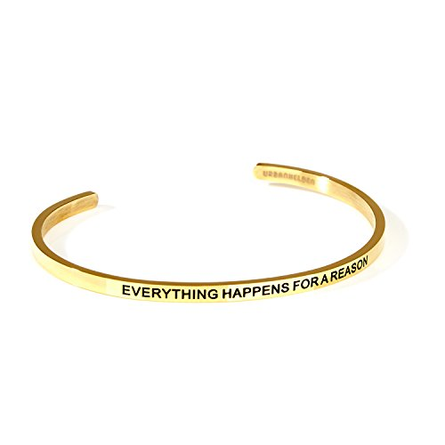 f mit Gravur - Damen Schmuck Inspiration Motivation - Verstellbar, Edelstahl - Armband mit Spruch