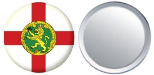 Miroir insigne de bouton Angleterre Alderney drapeau - 58mm