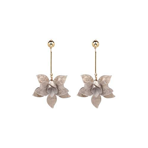 Design Bohemian große Blumen-Tropfen-Ohrringe Verkauf Harz Statement Hochzeit Charme-Ohrring-Schmucksachen, Grau