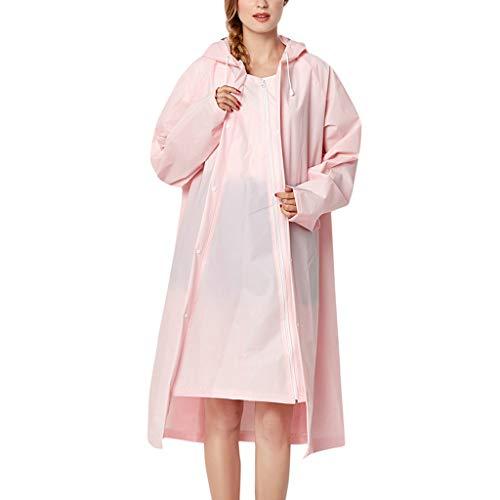 IZHH Mode Damen Regenjacke, Kapuze Transparente Eva Mantel Feste Taschen Winddicht Freien Outwear Wasserdichte Splice Windjacke Regen Zubehör für Camping und Reisen(Rosa,Large)