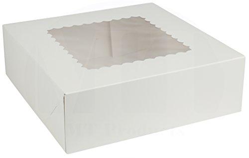 20,3cm Länge x 20,3cm Breite x 21/5,1cm Höhe weiß Kraft Karton auto-popup Abgerundete Design Fenster Pie/Bakery Box by MT Produkte (15Stück) (Cupcake-container Single)