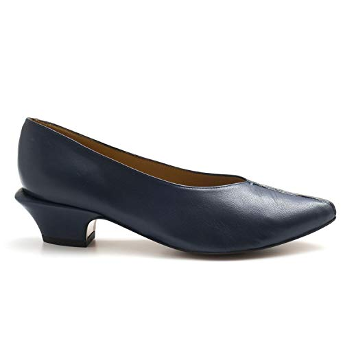AUDLEY - Medium Heel Audley Pump in Blue Soft Leather