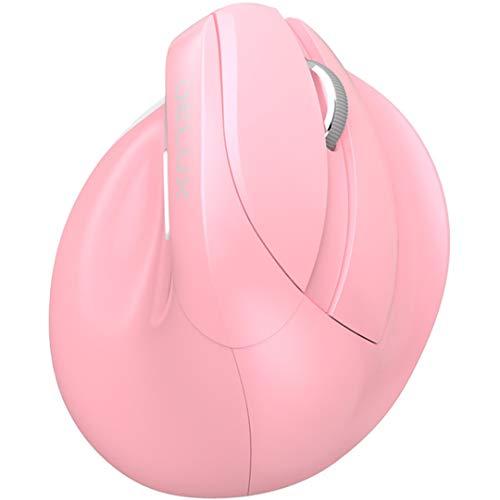 GWX Kabellose Bluetooth-Maus, ergonomische vertikale Maus 4.0 Bluetooth-Maus, DPI-Anpassung mit Vier Geschwindigkeiten, eingebauter wiederaufladbarer Lithium-Akku,Pink