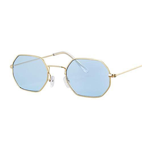 QDE Sonnenbrillen Metallrahmen Platz Sonnenbrillen Small-Frame Vintage Sonnenbrille Weibliche Ozean Blau Rosa Klar Sonnenbrille Für Frauen Retro Brille, B