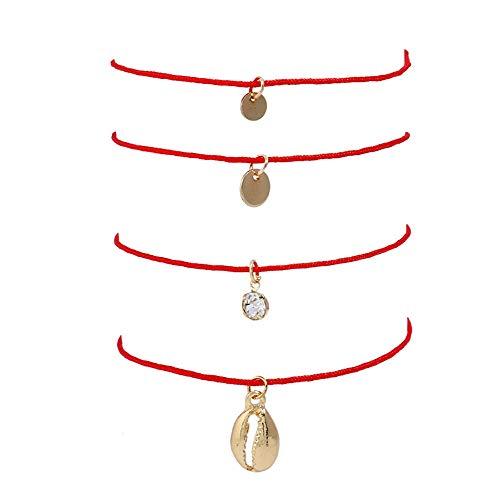 XIAOLULU Mode Damen Armband Minimalismus Handgewebte Armband mit Vertrag, Freundinnen Armband Seil Armband rotes Seil Schmuck Liebe Geschenk Damen Handketten Armreif für ()