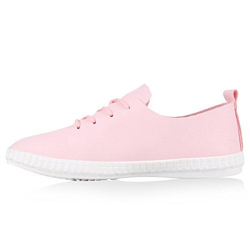 Damen Sneakers Freizeit Schuhe Schnürer Sportschuhe Rosa