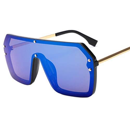 WYJW Platz Übergroße Sonnenbrille Für Frauen Männer Flat Top Fashion Shades Sonnenbrille Randlosen Rahmen Unisex Vintage Sonnenbrille Uv-400