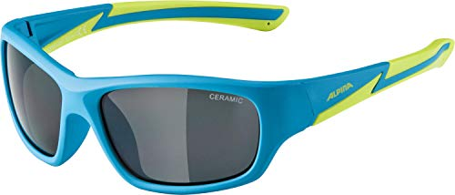 Alpina Kinder Sonnenbrille FLEXXY YOUTH Sportbrille, blue-matt-lime, One Size
