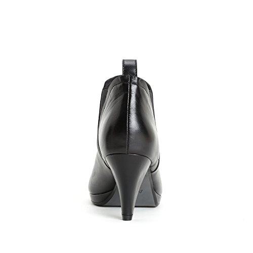 ALESYA by Scarpe&Scarpe - Stiefeletten mit Absatz und seitlichem Gummizug, Leder, mit Absätzen 7 cm Schwarz