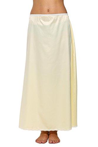 Avidlove Damen Lang Rock Spitzen Unterrock Halbrock Unterkleid Petticoat Einfarbig Weiß Miederröcke Halbslip XXL Maxi Beige