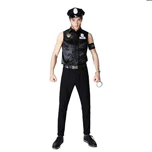 FHSIANN Sexy Polizei uniform Paare schwarz cop Halloween kostüme für Frauen männer Spiel bühne b (Steampunk Kostüm Für Paare)