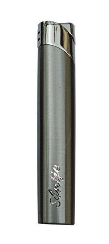 GravUp: Schmales Gas-Feuerzeug (grau) mit SOFORTGRAVUR + VORSCHAU: Gravur auf der Vorderseite (Gasfeuerzeug nachfüllbar)