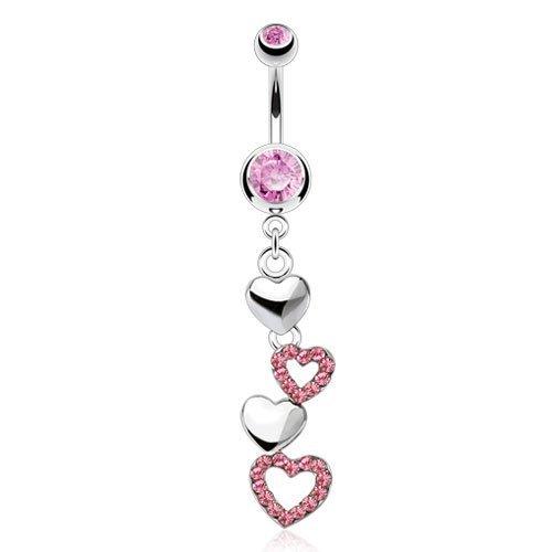 Rosa di cristallo incrostato Cascading Cuori ciondola barra della pancia Piercing Spessore: 1.6mm Lunghezza: 10mm Materiale: acciaio