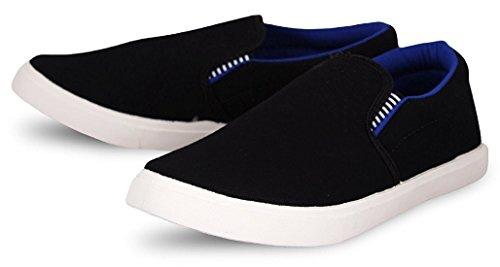 Leewon Men\'s Black/Blue Canvas Loafers & Moccasins-10
