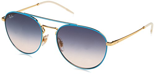 Ray-Ban RAYBAN Damen Sonnenbrille 0rb3589 9057i9 55, Gold Top On Light Blue/Lightbrowngradientblue