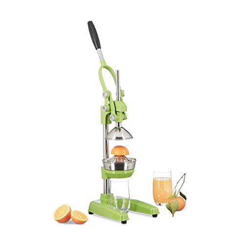 Relaxdays Exprimidor de Naranjas Manual, Acero Inoxidable, Verde, 34x19x44 cm