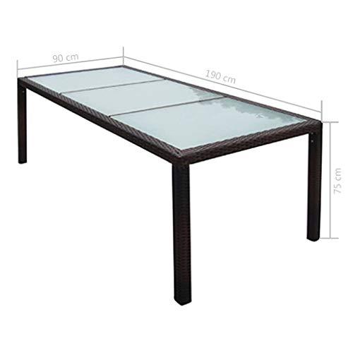 mewmewcat Garten-Esstisch   Gartentisch   Terassentisch   Rattan Tisch   Braun Poly Rattan und Glas 190 x 90 x 75 cm - Braun Glas-esstisch
