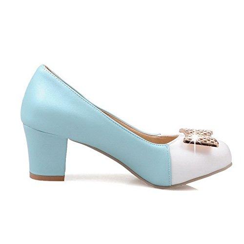 AgooLar Damen Rund Zehe Ziehen Auf Pu Leder Gemischte Farbe Mittler Absatz Pumps Schuhe Blau