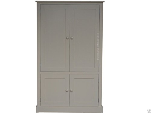 Great Buy for 100% Solid Wood Cupboard, 172 cm Tall White Painted Linen, Pantry, Larder, Filling, Shoe, Bathroom, Hallway or Kitchen Storage Cabinet. No flat packs, No assembly (CUP100-P) Online