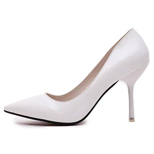 Damen Pumps Slip On Spitz Zehen Stilettos Arbeitschuhe Lackleder Tragen OL  Beständige Schuhe Weiß 131248af44