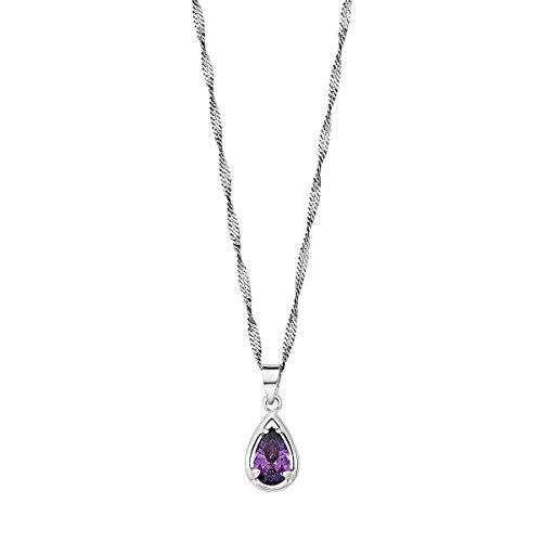 Amor Damen-Kette 45 cm mit Anhänger Tropfen 925 Silber rhodiniert Zirkonia lila
