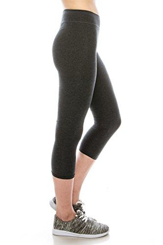 BaumwollSpandex Grund Knit Jersey Capri Leggings für Frauen Charcoal S (Womens Pants Capri Spandex)