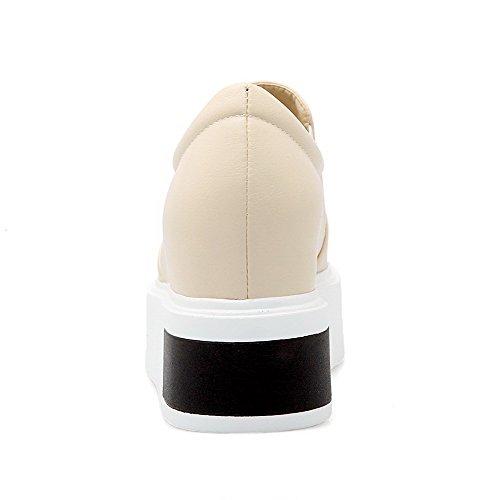 AllhqFashion Femme Couleur Unie Matière Souple à Talon Haut Tire Rond Chaussures Légeres Beige